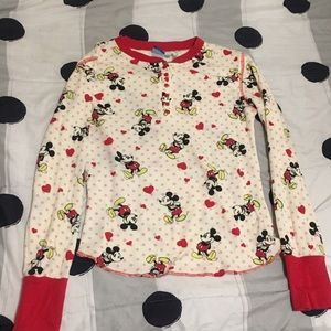 Tops - Retro thermal Mickey Mouse red buttoned Top